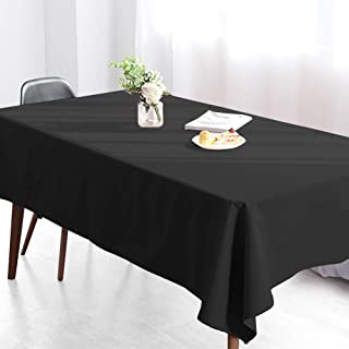 Wimaha Rectangular Tablecloth for Rectangle Table, 100% Polyester, Machine Washable Fast Dry, Ideal for Kitchen Party Picnic, 59 x 82, Black