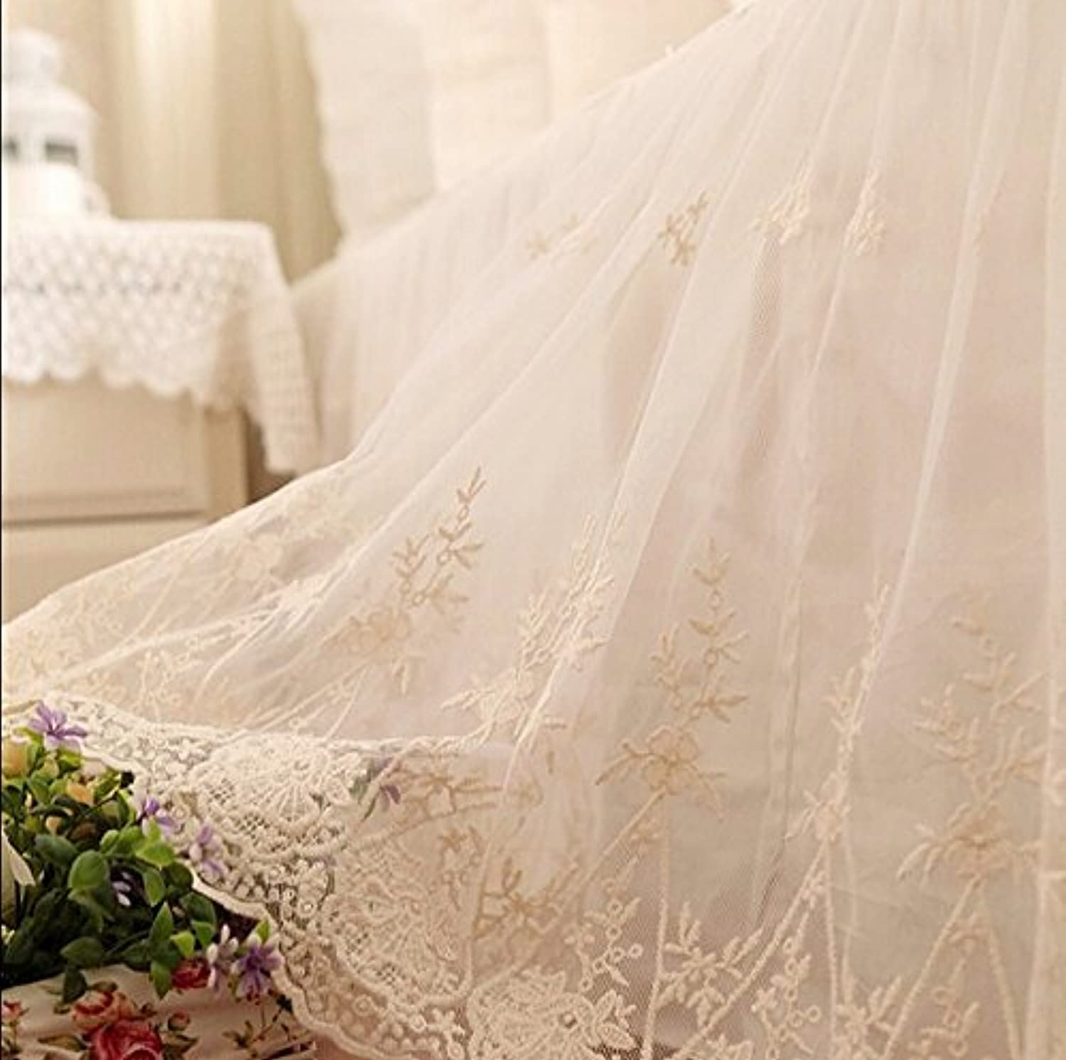 Brandream Twin Size Lace Bed Skirt Off White Girls Bed Covers Farmhouse 100% Cotton Dust Ruffle Bed Skirts