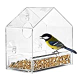 AKND Perspex Window Bird Feeder with Strong Suction Cups, Removable Tray, Outside - Heavy-Duty...