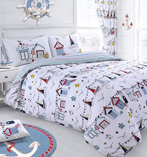 IHIDirect Printed Nautical Seaside Reversible Duvet Cover & Pillowcase Bedding Set Single Bed
