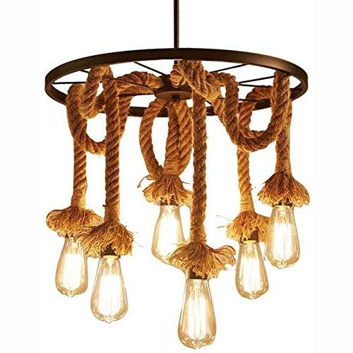WYBW Candelabro, 6 luces Lámpara colgante de cuerda de cáñamo Lámpara de techo vintage, Candelabro antiguo de mediados de siglo, E27 Lámpara de techo/lámpara de techo Art Deco rústico antiguo para