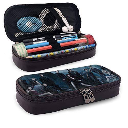 Vampire Diaries Federmappe aus Leder, große Kapazität, Stifttasche für Damen und Herren, Mädchen und Schule, Büro, Schwarz