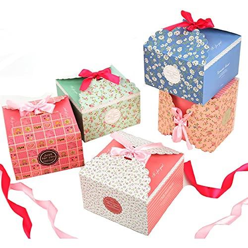 Geschenkbox 15 Stück Geschenkschachtel in 5 Farbe für Kekse, Süßigkeiten, Kuchen, babies Geschenk-Box dekorativen Kästchen für Mother's Day Weihnachten Geburtstage Hochzeiten Urlaub Babyparty