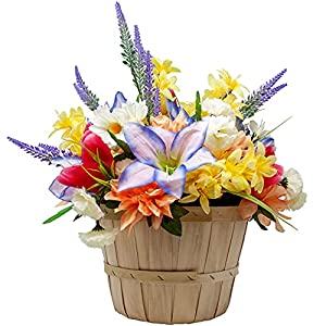 Gorgeous Springtime/Summer Artificial Flowers Arranged in a Countryside Basket with Handle