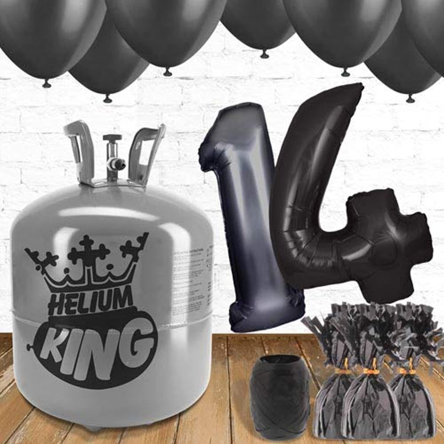 14th Birthday Black Balloons and helium gas package