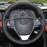 YHDNCG Cousu Main Volant de Voiture Noir Rouge Bricolage en Cuir véritable Couverture, pour Toyota RAV4 2013-2018 Corolla 2014-2019 Corolla iM US 2017-2018 Auris Hand-Sewn