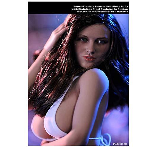 ZSMD Schicken Sie Kopf zum Senden Bikini 1/6 Schaufensterpuppe Stahl Skelett große Brüste weiblicher Körper super flexibel nahtlos mit Metallskelett S07 S09 S09
