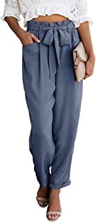 Womens Paper Bag Pants Elastic High Waist Pockets Long Ankle Trousers with Belt
