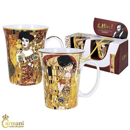 CARMANI - Porzellan-Becher mit 'Der Kuss' und 'Adele' von Gustav Klimt dekoriert 300ml, 2 Stück