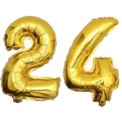 DekoRex® 24 als Folienballon Luftballon Zahlenballon Jahrestag Geburtstag in Gold 80cm hoch