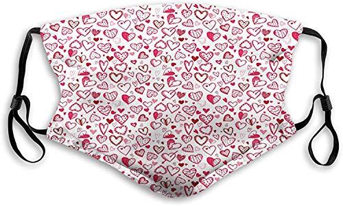 Keyboard cover Gesichtsschutz Mundschutz Doodle Style Sketch Hearts mit Tupfenlinien Love Inscriptions Arrow Nasenschutz Wiederverwendbar Waschbar Gesichts Schals Mit 6 Filtern