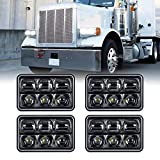 4x6 LED Headlights, AAIWA 4PCS LED Headlight Replacement Kit with High Low Beam,Rectangular Headlamps for Truck H4651 H4652 H4656 H4666 H6545 Peterbil Kenworth Freight