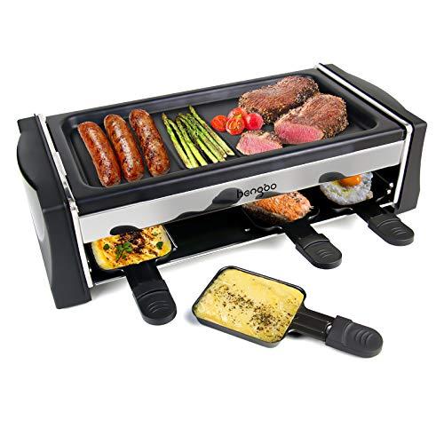 HengBo Raclette Grill, Tischgrill Raclette 8 Personen mit Antihaftbeschichtung, 8 Mini Raclette Pfännchen, Einstellbarer Temperatur, Abnehmbare Grillplatte, 1300W Schwarz
