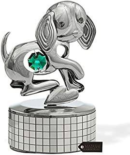 "Matashi Chrome Plated Dog Music Box Plays ""Memory"" 