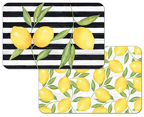 Counterart Jardin De Citron Reversible Wipe Clean Placemats Set of 4 Made in The USA