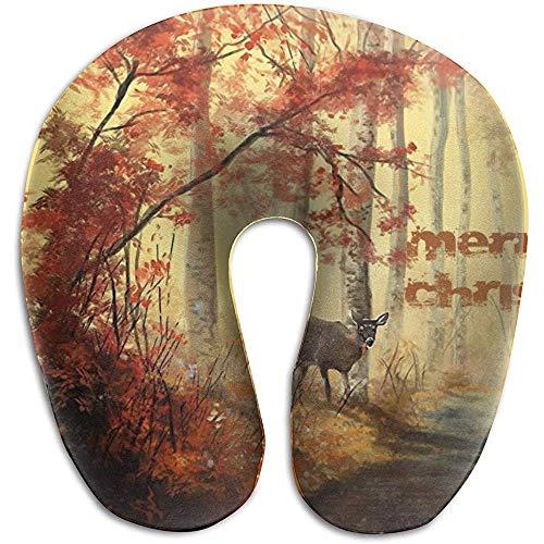 Hao-shop Schilderij herfstdieren kussen in U-vorm bedrukt nekkussen van schuimrubber voor reispijn in de nek, zacht met duurzaam materiaal