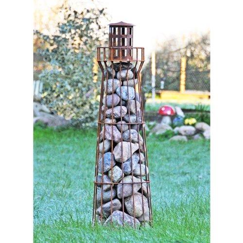 VOSS.garden Edelrost-Leuchtturm Föhr - Gabione - Steinkorb- Steindeko - Teichdeko - Gartendeko