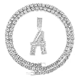 FW Jewelry Iced Out Silver Gold Baguette Diamond Initial Letter Pendant Chains for Men Women with Bling Tennis 24 Inches A to Z (A-Silver, & Tennis)