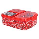SPIDERMAN |Caja de Almuerzo con 3 Compartimentos - Fiambrera Infantil para colegio - lonchera para niños