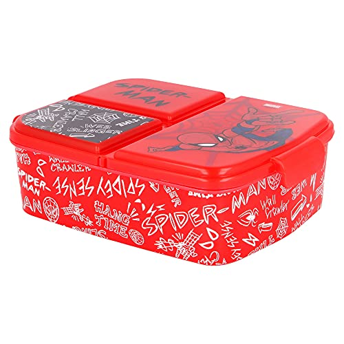 SPIDERMAN |Caja de Almuerzo con 3 Compartimentos - Fiambrera Infantil para colegio - lonchera para...