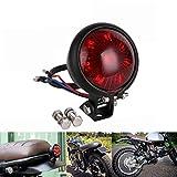 Haneu - Luz trasera LED para motocicleta, color negro brillante con lente roja para Cafe Racer, Scrambler, proyecto personalizado