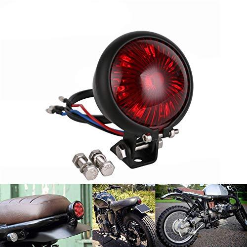 HANEU Motorrad LED Rücklicht Bremslicht Bates Style Schwarz Rotes Glas E-geprüft Custom Cafe Racer