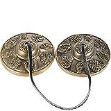gandhanra tingsha campane tibetane con bellissima custodia dal nepal,per guarigione dal suono,yoga,meditazione,consapevolezza-campane tubolari-accordato a mano in chiave,astamangal