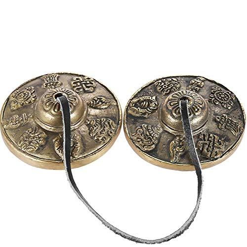 Gandhanra Tibetan Tingsha Glocke mit schönem Fall, für Klangheilung, Yoga, Meditation, Achtsamkeit -Fingerzimbeln,Hand auf Ton eingestellt,Handgemacht in Nepal,Astamangal(acht verheißungsvolle)