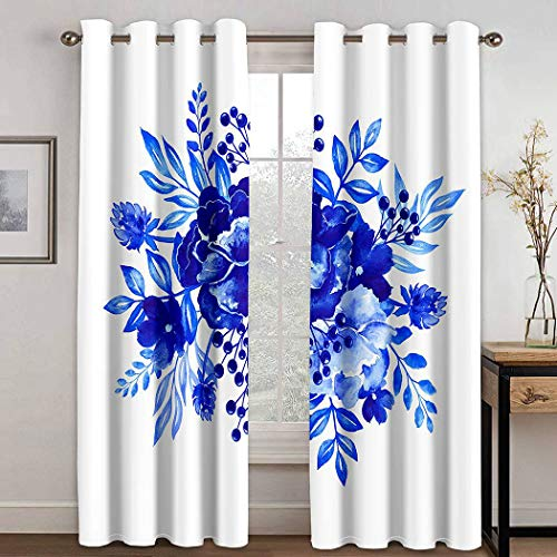 THE MINI CRUSH Flowers Curtains,Watercolor Tropical Palm Leaves Pineapples,Soundproof Blackout Curtains for Bedroom Living Room Window Drapes 2 Panel Set,108X80 Inches