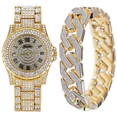 Gnaixyc Hombres Reloj De Pulsera De Cuarzo con Pulsera, Relojes Helados con Bling Bling Pulsera Cubana Relojes con Diamantes Completos Y Pulsera Conjunto De Joyas De Hip Hop,Oro