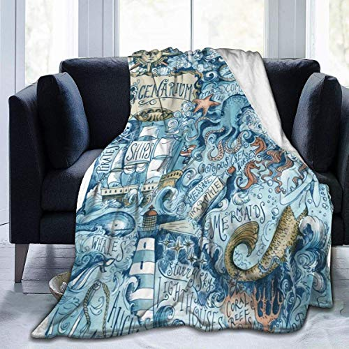 LAVYINGY Black Mermaid Pirate Octopus Sea Monster Ultra Soft Throw Flannel Fleece Blanket All Season Lightweight Living Room Bedroom Home Office Blanket 50'x60'