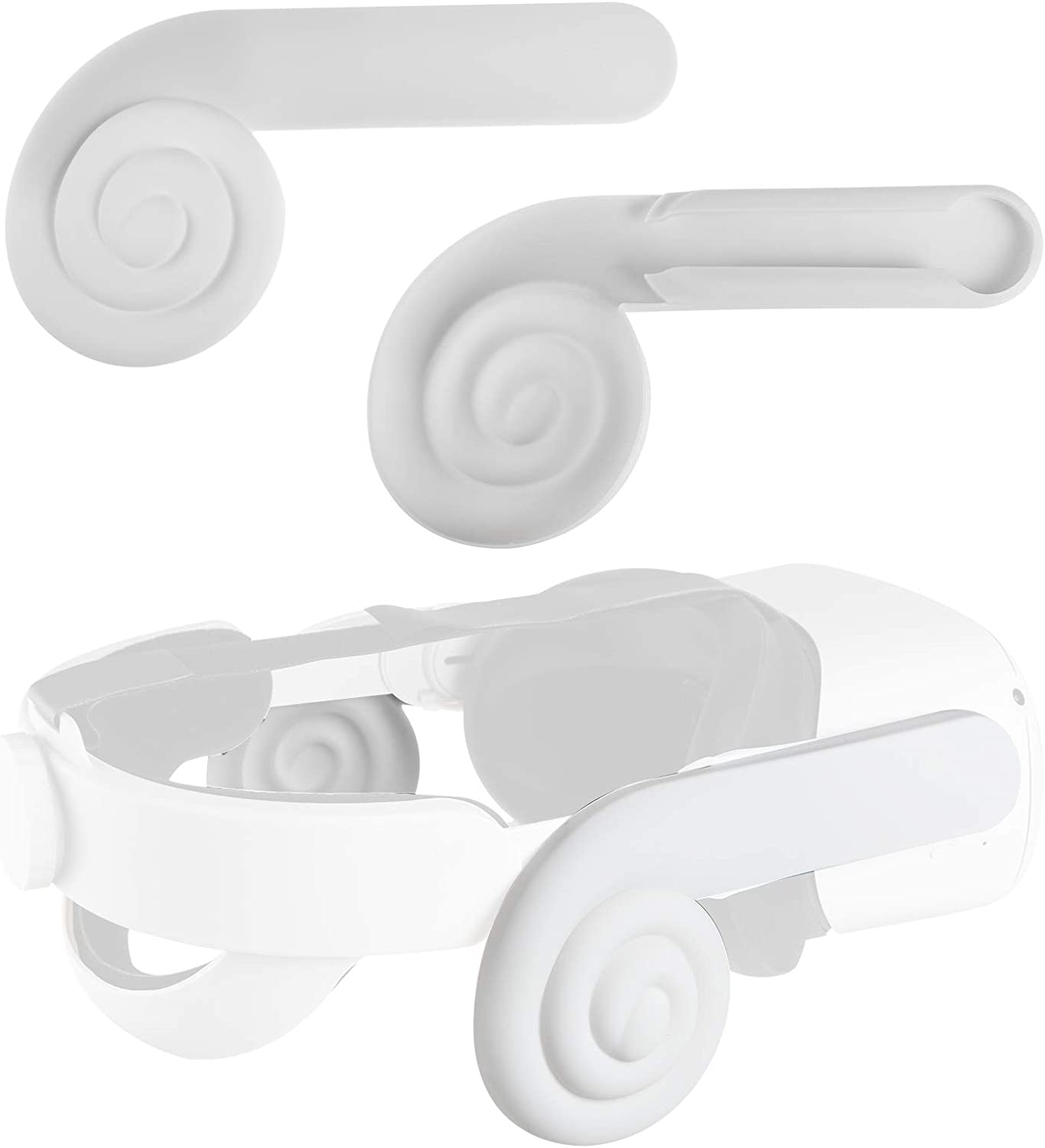(1 Pair) Seltureone Silicone Ear Muffs Compatible for Oculus Quest 2 VR Headset, Enhancing Sound Ear Cups Accessories for Quest 2 Headphones, White