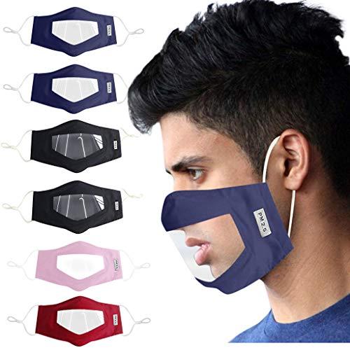 Reasoncool Μäsᴋᴇ 6 Teilige Bandana Mit Klarem Fenster Sichtbarer Ausdruck Sturmhaube Für Gehörlose Und Schwerhörige SeamlessSonnenschutz