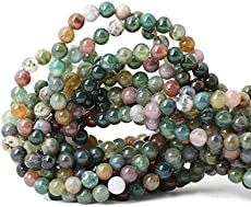 """Qiwan 60PCS 6mm Indian Agate Gemstone Loose Beads Natural Round Crystal Energy Stone Healing Power for Jewelry Making 1 Strand 15\\"""""""