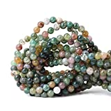 Qiwan 60PCS 6mm Indian Agate Gemstone Loose Beads Natural Round Crystal Energy Stone Healing Power for Jewelry Making 1 Strand 15'