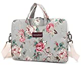 macbook air bag 11 inch - Canvaslove Grey Rose Pattern Water Resistant Light Weight Laptop Shoulder Messenger Bag for MacBook Air Pro 13 inch Surface Laptop Book 13.5 inch and 13.3 Inch Laptop