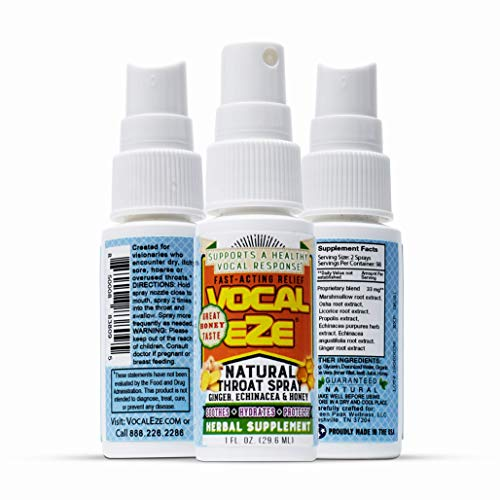 Vocal Eze Throat Spray | Relieve Sore, Hoarse, Fatigue, Dryness of Throat | Herbal Immune Support, All Natural Ingredients (1)