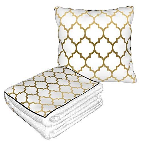 Manta de almohada de terciopelo suave 2 en 1 con bolsa suave, funda de almohada de cuatro hojas doradas para el hogar, avión, coche, viajes, películas