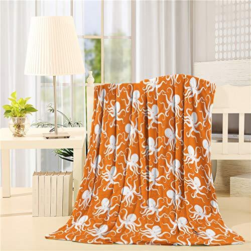 BABE MAPS Octopus Flannel Fleece Throw Blanket Warm Lightweight Bed Blankets, Soft Plush Cozy Blankets and Throws for Couch Sofa Kraken Decor Sea Ocean Animal Orange White 50 x 80inch
