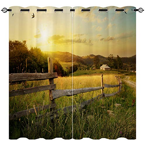EiiChuang Country Curtains, Thermal Insulated Blackout Curtain with Fence Grass Dusk Natural Scenery Farmhouse Pattern, Room Darkening Grommet Curtain for Bedroom Living Room 2 Panels 27.5 X 45 Inch