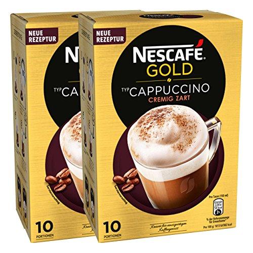 Nescafé Gold Typ Cappuccino, Cremig Zart, Löslicher Bohnenkaffee, Instantkaffee, Kaffee, 2 x 10 Portionen, 12321032