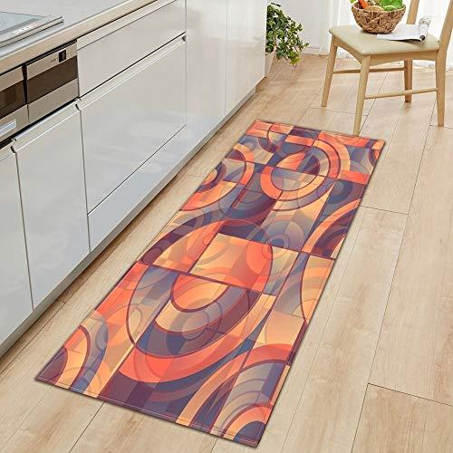 OPLJ 3D Blumenmuster Bodenmatte Küchenteppich Schlafzimmer Wohnzimmer Korridor Bodenteppich rutschfeste Eingangstürmatte A1 60x180cm
