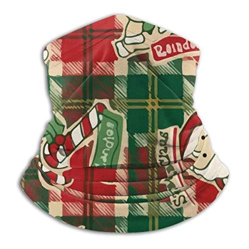 ShiHaiYunBai Halstuch/Kopftuch Microfiber Neck Warmer Xmas Present Xmas Plaid Santa Reindeer Neck Gaiter Tube Ear Warmer Headband Scarf Face Mask Balaclava Black