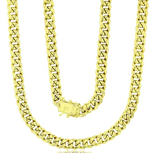 """14K Yellow Gold Hollow 6.50mm Maimi Cuban Chain with Box Lock 