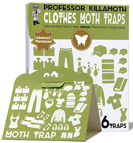 Clothes Moth Traps 6 Pack | No insecticides | Child and Pet Safe | Advanced Attractant | Protect Your Clothes, Wool, Sweaters, Carpet | The Safe Moth...