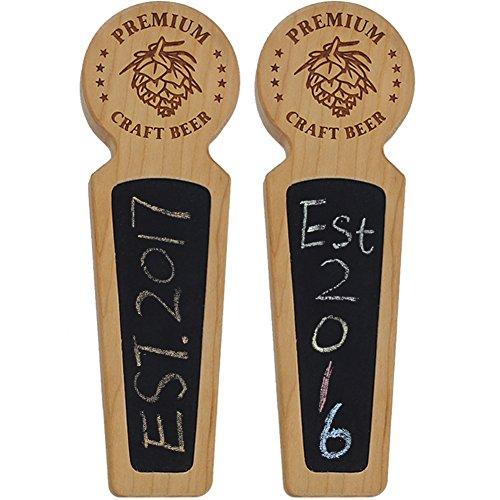 Fanfoobi Set of 2 Wooden Beer tap handle with chalkboard Premium Craft...