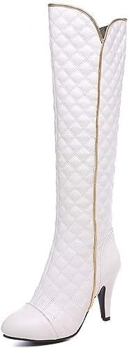 ZHRUI Stiefel para damen - Stiefel de Caballero de tacón Fino Stiefel Martin Puntiagudas Stiefel de esquí de tartán de tacón Alto 34-44 (Farbe   Weiß, tamaño   41)