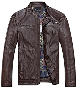 Chouyatou Men s Vintage Stand Collar Pu Leather Jacket  Large 96Coffee
