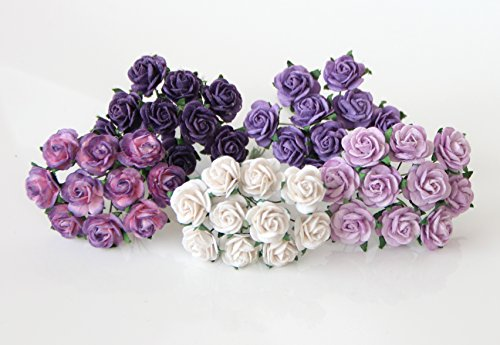 50 Shades of Lilac Paper Roses for Scrapbooking, Wedding Decoration, Favors, Baby Shower by ScrapFlowers (1.5 cm)