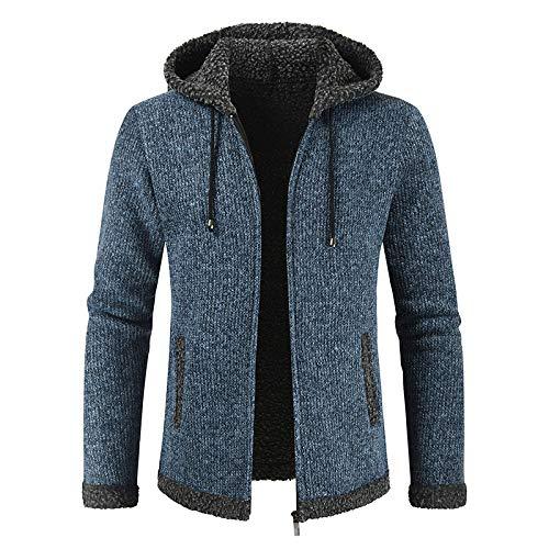 Winter Jacke Military Style gefüttert Kapuze Parka Army FliegerjackeLoose Herren Kapuzenpullover Navy Blau L